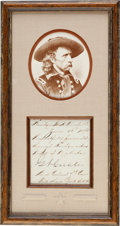 Autographs:Military Figures, George Armstrong Custer Signed Endorsement....