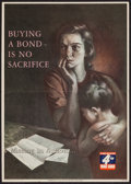 "Movie Posters:War, World War II (U.S. Government Printing Office, 1943). 4th War LoanBonds Poster (14.25"" X 20"") ""Buying a Bond is No Sacrific..."
