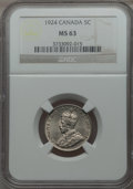 Canada, Canada: George V 5 Cents 1924 MS63 NGC,...