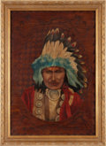 "Art, 1908-dated Portrait of ""Red-Owl"" Signed by A. C. Scarles...."