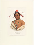 "Art, McKenney & Hall Hand-colored Engraving of ""Mar-ko-me-te, AMenomene Brave.""..."