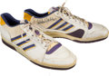 Basketball Collectibles:Others, 1987 Kareem Abdul Jabbar Game Worn, Signed Shoes - Worn in NBA Finals!...