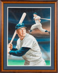 Autographs:Others, 1992 Mickey Mantle Signed Original Artwork by Lee Bivens....