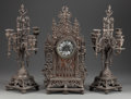 Paintings, A THREE PIECE BRONZE CLOCK GARNITURE, mid 19th century. 19-1/4 inches high (48.9 cm). ... (Total: 3 Items)