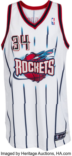 buy popular 7f3ab 22e13 1999-2000 Hakeem Olajuwon Game Worn Houston Rockets Jersey ...