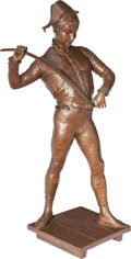 Sculpture, PAUL DUBOIS BRONZE HARLEQUIN. Circa 1900. 23 inches (58.4 cm) high inscribed to base: P. Dubois. ...