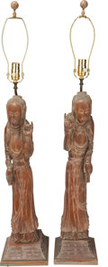 Asian:Chinese, A PAIR OF CHINESE CARVED WOOD GUANYIN FIGURAL LAMPS, . 41-1/2inches high (105.4 cm). FROM THE ESTATE OF RICHARD WRIGHT. ...(Total: 2 Items)