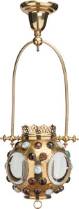 Miscellaneous:Lamps & Lighting, CONTINENTAL BRASS AND GLASS JEWELED HALL LANTERN, circa 1910. 30inches high (76.2 cm). PROPERTY FROM THE ESTATE OF RICHAR...