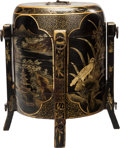 Asian:Chinese, A CHINESE BLACK LACQUER STACKING BOX. 18 x 15 x 15 inches (45.7 x38.1 x 38.1 cm). ...