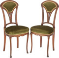 Furniture : Continental, PAIR OF FRENCH ART NOUVEAU UPHOLSTERED SIDE CHAIRS, circa 1895.36-3/4 x 16 x 15 inches (93.3 x 40.6 x 38.1 cm). PROPERTY ...(Total: 2 Items)