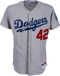 "Baseball Collectibles:Uniforms, 2014 Don Mattingly Game Worn ""Jackie Robinson Day"" Los AngelesDodgers Jersey...."