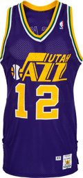 Basketball Collectibles:Uniforms, 1989 John Stockton Game Worn Utah Jazz Jersey and Shorts....