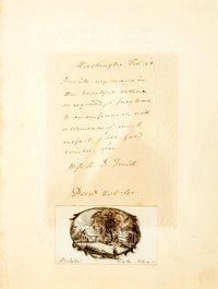Daniel Webster Autograph Letter Signed. Affixed to the bottom of the letter is a small (3 x 1.75 inches) pencil and w