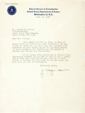 Autographs:Military Figures, J. Edgar Hoover Typed Letter Signed. FBI stationery. June 17, 1949. 8 x 10.5 inches. Folding creases and wrinkles. Edgewear....