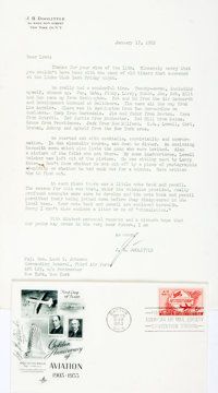 James H. Doolittle Typed Letter and First Day Cover Signed. Letter dates January 17, 1952. Stationery. The letter is