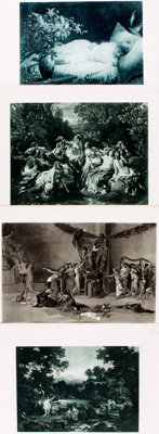 Group of Four Black and White Photogravures of 19th Century Paintings. Gebbie & Co., [n.d., circa 1850]