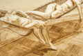 Fine Art - Work on Paper:Watercolor, PHILIP PEARLSTEIN (American, b. 1924). Two Female Models in aHammock, 1977. Sepia wash on paper. 40-1/4 x 59-3/4 inches...
