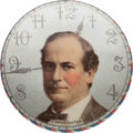 """Political:Pinback Buttons (1896-present), William Jennings Bryan: Classic """"Clock Face"""" Design in 1 ¼-inch Size...."""