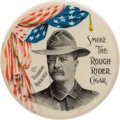 Political:Pinback Buttons (1896-present), Theodore Roosevelt: A Terrific Rough Rider Cigar Advertising PocketMirror....
