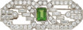 Estate Jewelry:Brooches - Pins, Art Deco Green Tourmaline, Diamond, Platinum, White Gold Brooch. ...