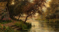 Fine Art - Painting, American:Modern  (1900 1949)  , LOUIS ASTON KNIGHT (American, 1873-1948). A Bend in theStream. Oil on canvas. 18-1/4 x 32-1/4 inches (46.4 x 81.9 cm)....