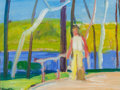 Fine Art - Painting, American:Contemporary   (1950 to present)  , LOUISA MATTHIASDOTTIR (American, 1917-2000). Girl on Bridge.Oil on canvas. 9 x 12 inches (22.9 x 30.5 cm). Signed lower...
