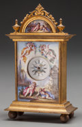 Decorative Arts, French, A MINIATURE FRENCH ENAMEL AND GILT BRONZE CLOCK, 20th century.4-7/8 x 2-7/8 x 1-3/8 inches (12.4 x 7.3 x 3.5 cm). ...