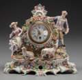 Decorative Arts, Continental, A DRESDEN-STYLE PORCELAIN FIGURAL CLOCK, late 19th century. 9-1/2 x10-1/2 x 5 inches (24.1 x 26.7 x 12.7 cm). ...
