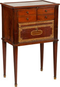 Furniture , A LOUIS XVI MAHOGANY AND LEATHER SIDE TABLE, late 18th century. 31 x 19-1/2 x 13 inches (78.7 x 49.5 x 33.0 cm). ...