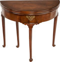 Furniture : English, A GEORGE II MAHOGANY AND BRASS FLIP-TOP GAMES TABLE, circa 1750. 30-1/2 inches high x 33 inches diameter (77.5 x 83.8 cm). ...