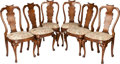 Furniture , A SET OF SIX GEORGE III UPHOLSTERED WALNUT SIDE CHAIRS, circa 1820. 41 x 21 x 18-1/2 inches (104.1 x 53.3 x 47.0 cm). ... (Total: 6 Items)