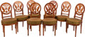 Furniture : French, A SET OF EIGHT DIRECTOIRE-STYLE CARVED MAHOGANY UPHOLSTERED SIDECHAIRS, 20th century. 35 x 17 x 17-1/2 inches (88.9 x 43.2 ...(Total: 8 Items)