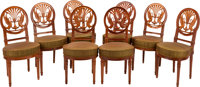 A SET OF EIGHT DIRECTOIRE-STYLE CARVED MAHOGANY UPHOLSTERED SIDE CHAIRS, 20th century 35 x 17 x 17-1/2 inches (88