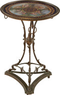 Furniture , A SEVRES-STYLE PORCELAIN AND BRONZE GUERIDON, late 19th century. Marks: (pseudo Sèvres marks). 28 inches high x 19-1/4 inche...