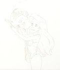 Animation Art:Production Drawing, Disney's Little Mermaid Ariel and Flounder Animation Drawing(Walt Disney, 1992)....