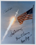 Autographs:Celebrities, Apollo 11 Launch Color Photo Signed by Four Mission Controllers....