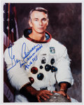 Autographs:Celebrities, Gene Cernan Signed White Spacesuit Color Photo....