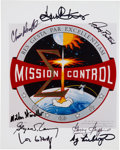 Autographs:Celebrities, NASA Mission Control Emblem Color Photo Signed by Eight Controllers....