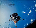 Autographs:Celebrities, James McDivitt Signed Large Apollo 9 Lunar Module Color Photo. ...