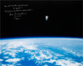 Autographs:Celebrities, Bruce McCandless Signed Large STS-41-B Untethered Spacewalk Color Photo. ...