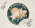 """Autographs:Celebrities, James Lovell Signed Apollo 13 Original NASA """"Red Number"""" Mission Insignia Color Photo...."""