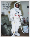 Autographs:Celebrities, Edgar Mitchell Signed White Spacesuit Launch Day Color Photo....