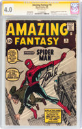 Silver Age (1956-1969):Superhero, Amazing Fantasy #15 Signature Series (Marvel, 1962) CGC VG 4.0Off-white pages....