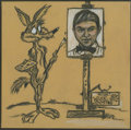 Mainstream Illustration, Canvas 023. Untitled: Road Runner. Charcoal/pastel. 12 x 12 in.. ...