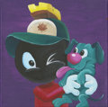Mainstream Illustration, Canvas 024. Boy Marvin + Pup K-9. 12 x 12 in.. ...