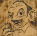 Mainstream Illustration, Canvas 050. The Voice. Wood burning/pyrography on wood. 12 x12 in.. ...