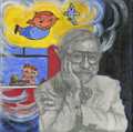Paintings, Canvas 034. The Boy Who Hated School. Acrylic and graphite on canvas. 12 x 12 in.. ...