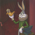 Mainstream Illustration, Canvas 106. High Culture Hare. Acrylic on wood. 12 x 12 in.....