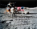Autographs:Celebrities, Gene Cernan Signed Large Apollo 17 Lunar Surface Color Photo withHandwritten Quote. ...