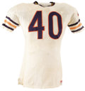 Football Collectibles:Uniforms, Mid to Late 1960's Gale Sayers Game Worn Jersey. Like the winds that share his first name, Gale Sayers appeared on the scene...